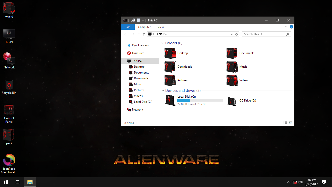 Alien Isolation Red IconPack for Win7/8/8.1/10
