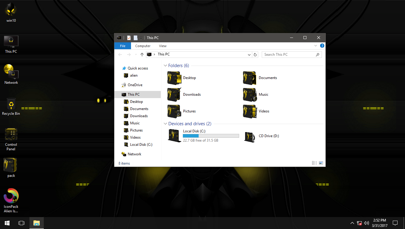 Alien Isolation Yellow IconPack for Win7/8/8.1/10