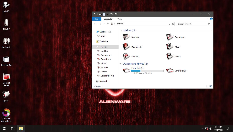 AlienMorph Red IconPack for Win7/8/8.1/10