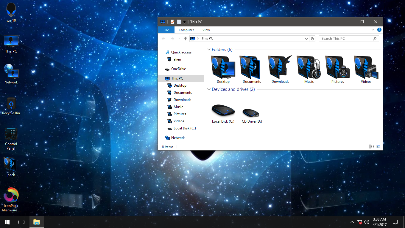 Alienware 3D Blue IconPack for Win7/8/8.1/10