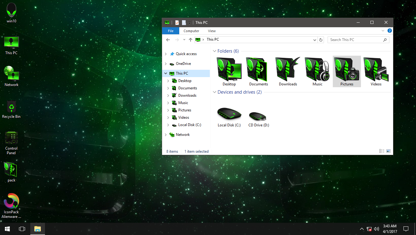 Alienware 3D Green IconPack for Win7/8/8.1/10