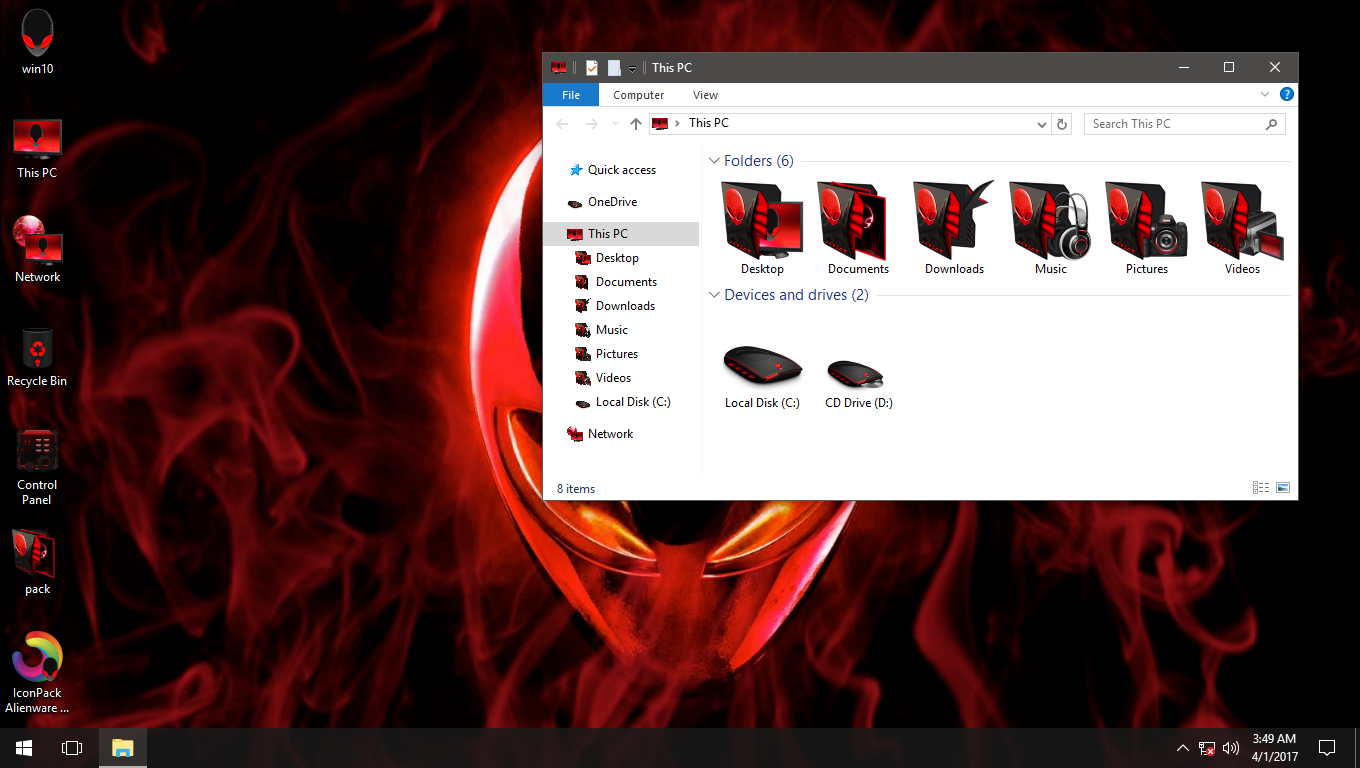 Alienware 3D Red IconPack for Win7/8/8.1/10