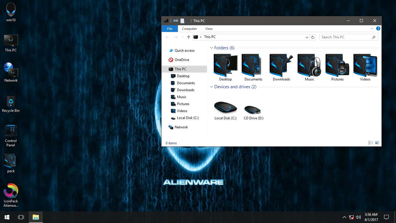 Alienware Advanced Blue IconPack for Win7/8/8.1/10