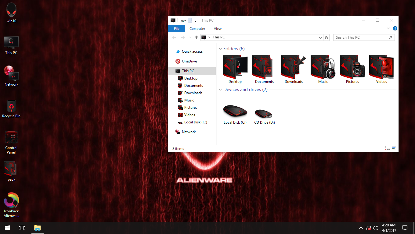 Alienware Advanced Red IconPack for Win7/8/8.1/10