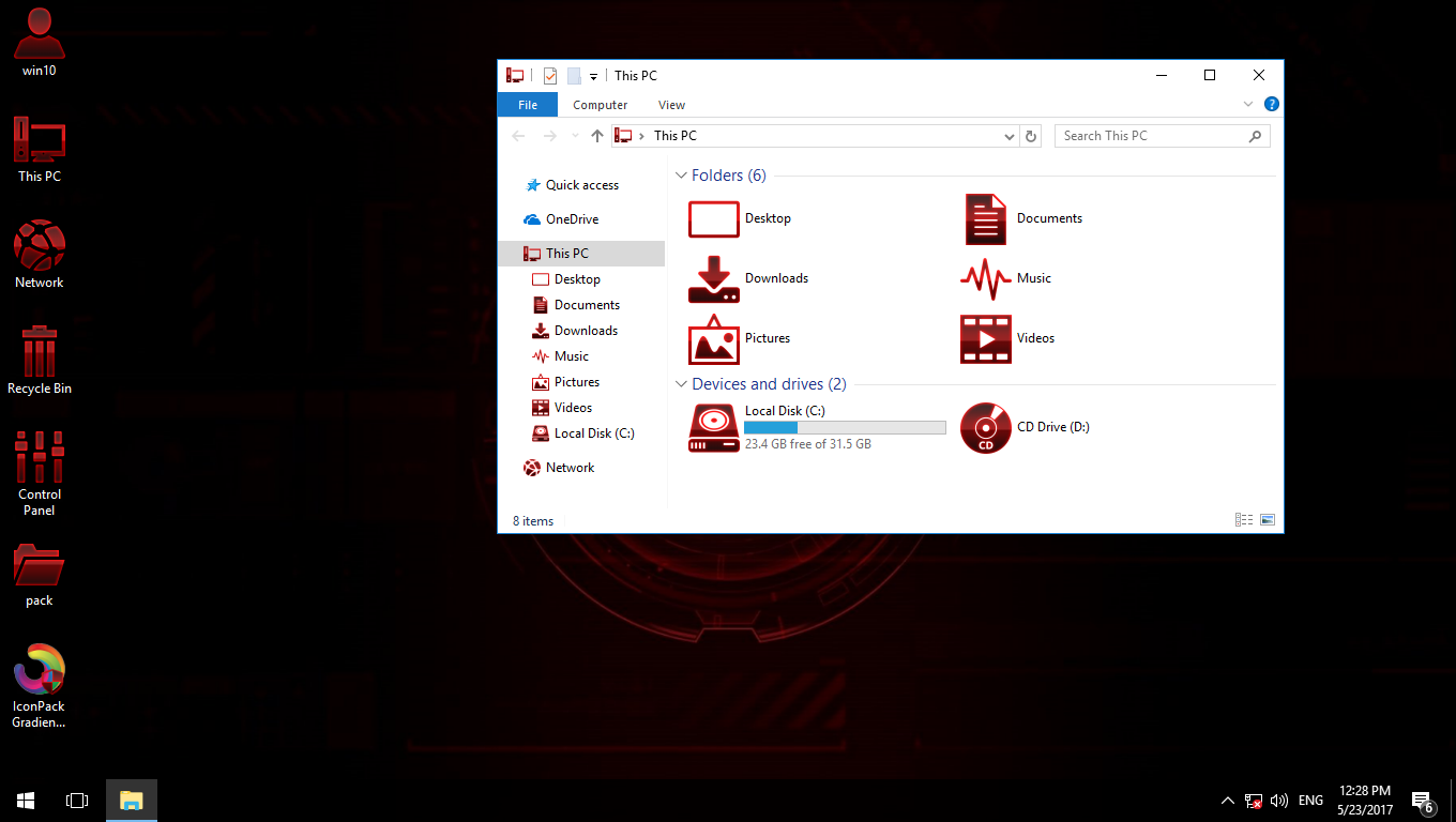 Gradiente RED IconPack for Win7/8/8 1/10 - SkinPack