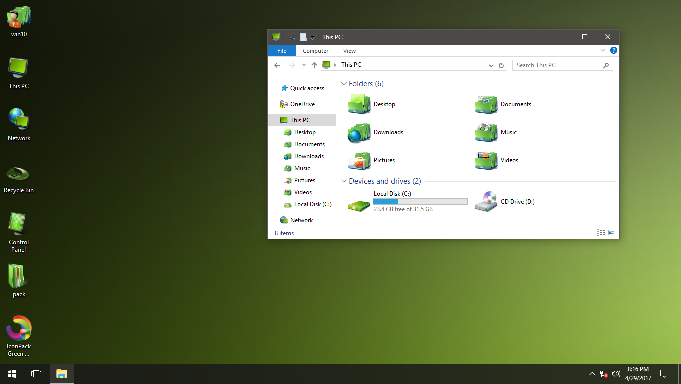Green Memory IconPack for Win7/8/8.1/10