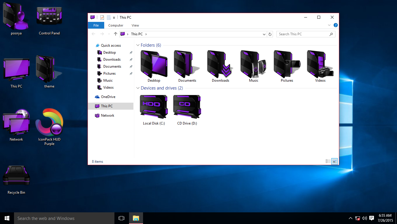 HUD Purple IconPack for Win7/8/8 1/10 - SkinPack - Customize Your