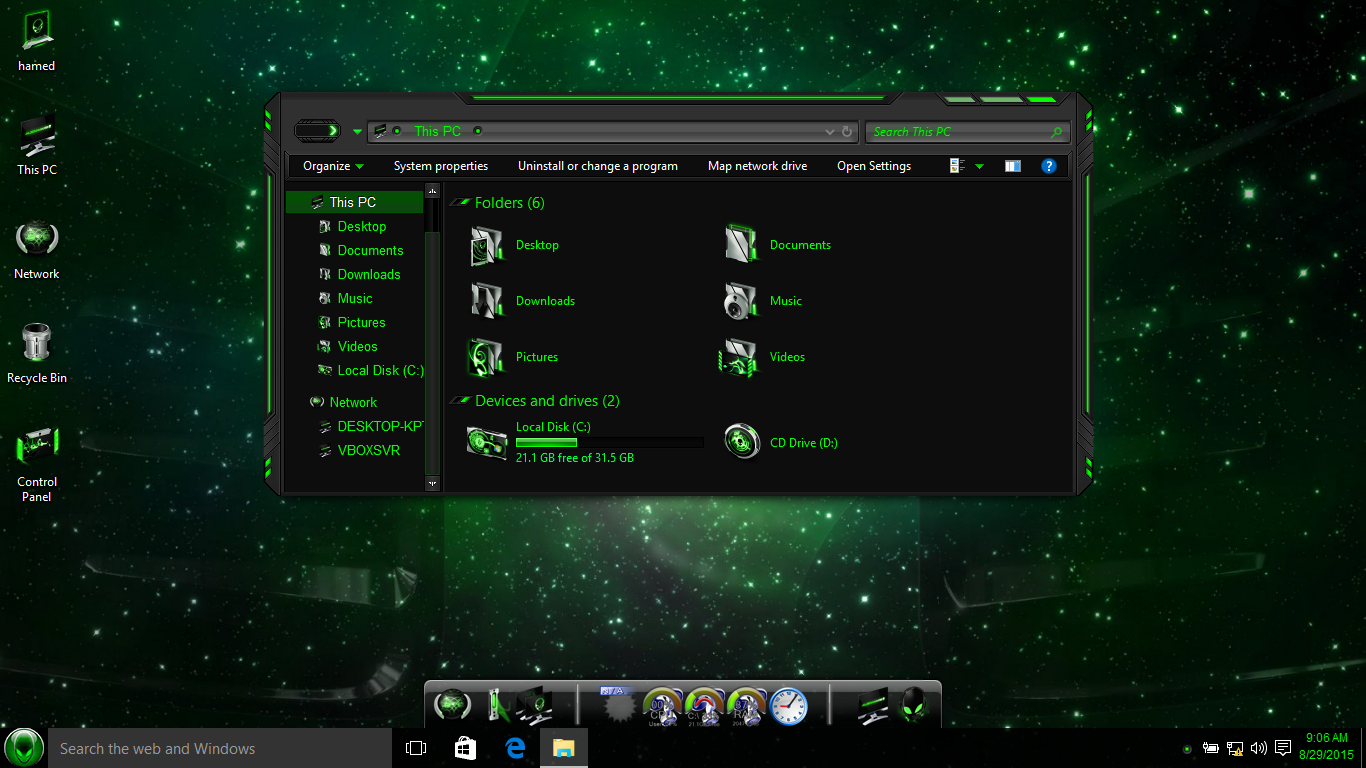 Aliengreen SkinPack for Win10 released
