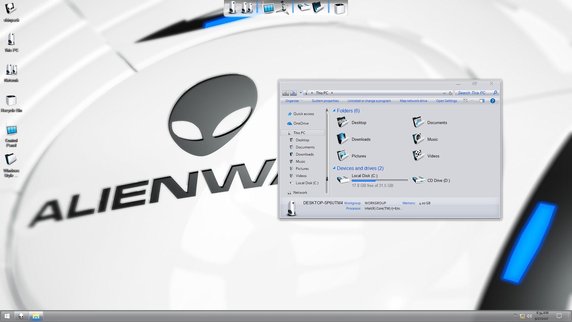 AlienXdark SkinPack for Windows 7\10rs2