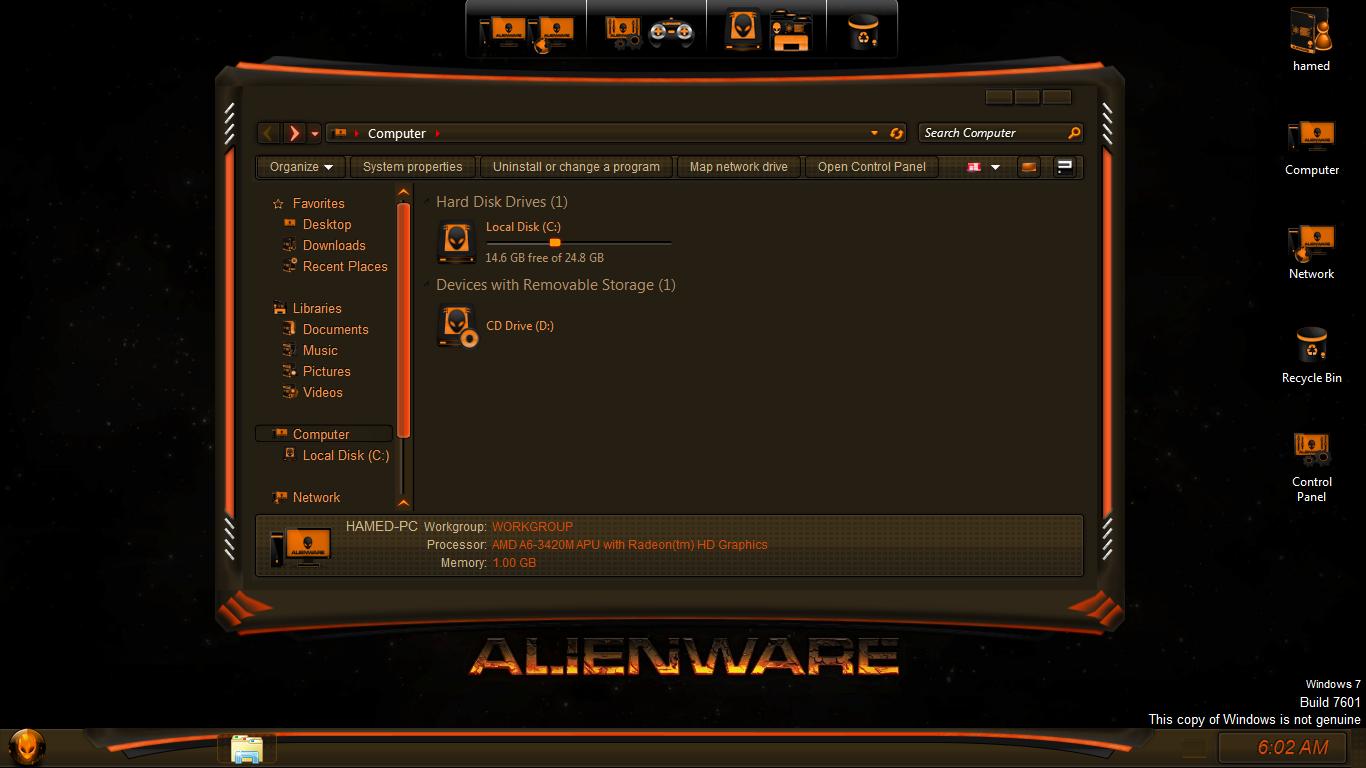 Alienware Dark SkinPack for Win7