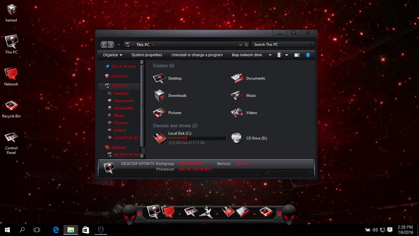 Alienware DeathStar SkinPack for Win7/8.1/10