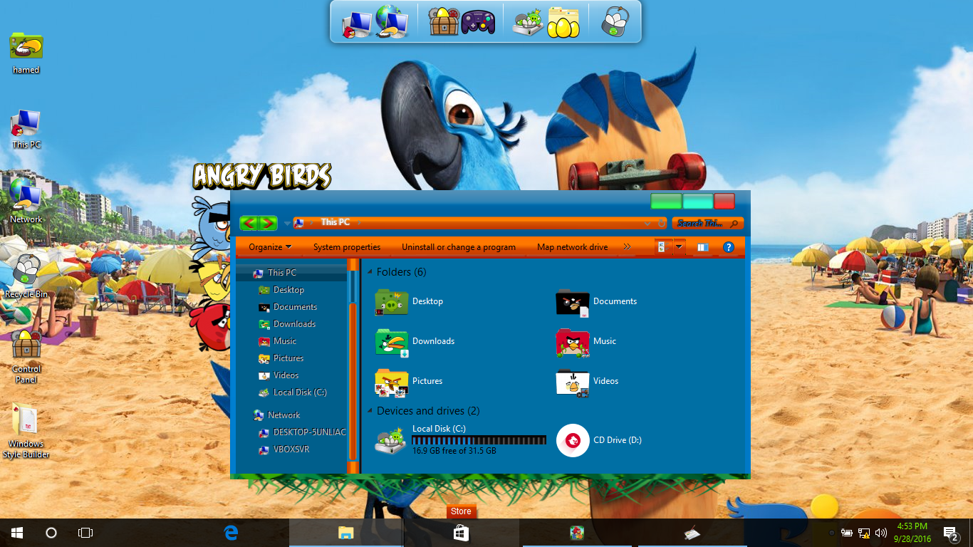 Angry Birds Rio SkinPack for Windows 10 and 7