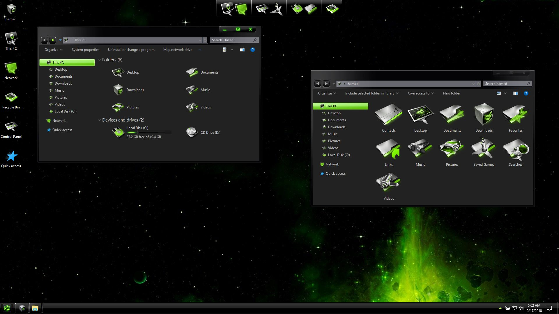 BlackMatter Green SkinPack for Windows 7\10