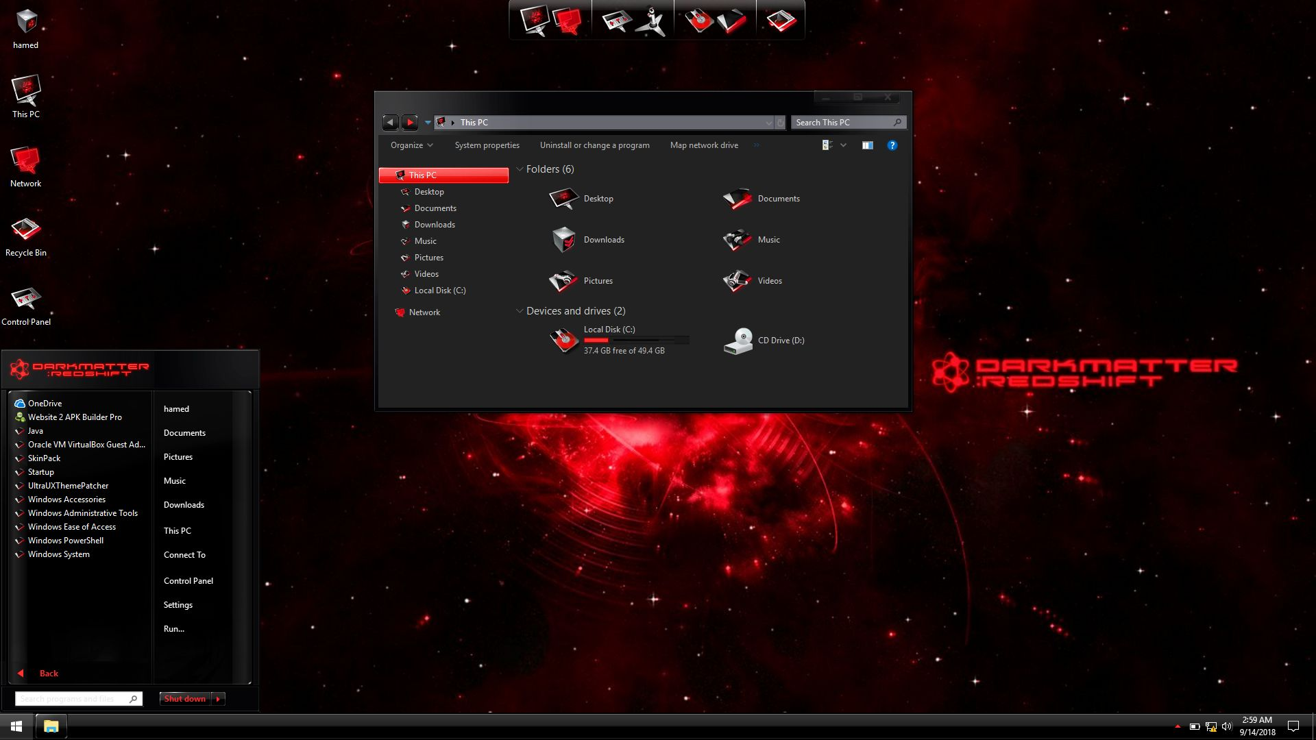 BlackMatter Red SkinPack for Windows 7\10
