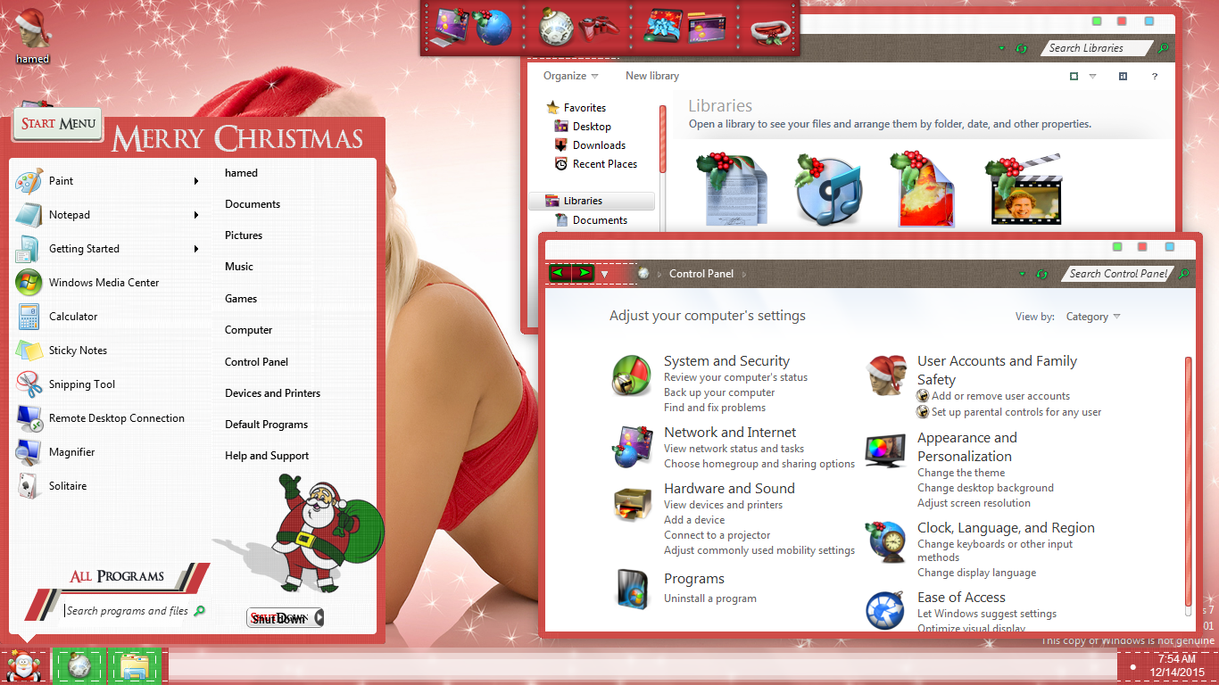Christmas SkinPack for Windows 7\8.1\10 RS2 & RS3