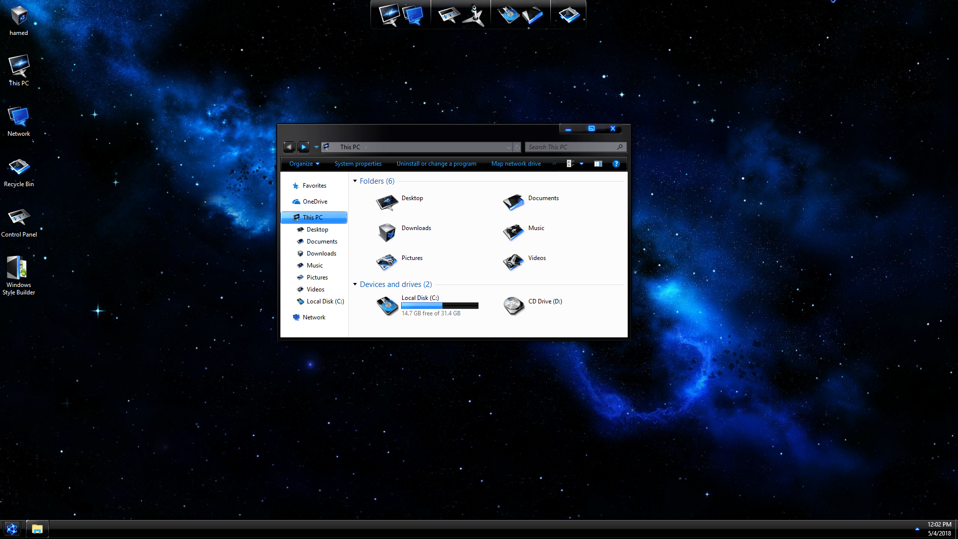 DarkMatter Blue SkinPack for Windows 7\10