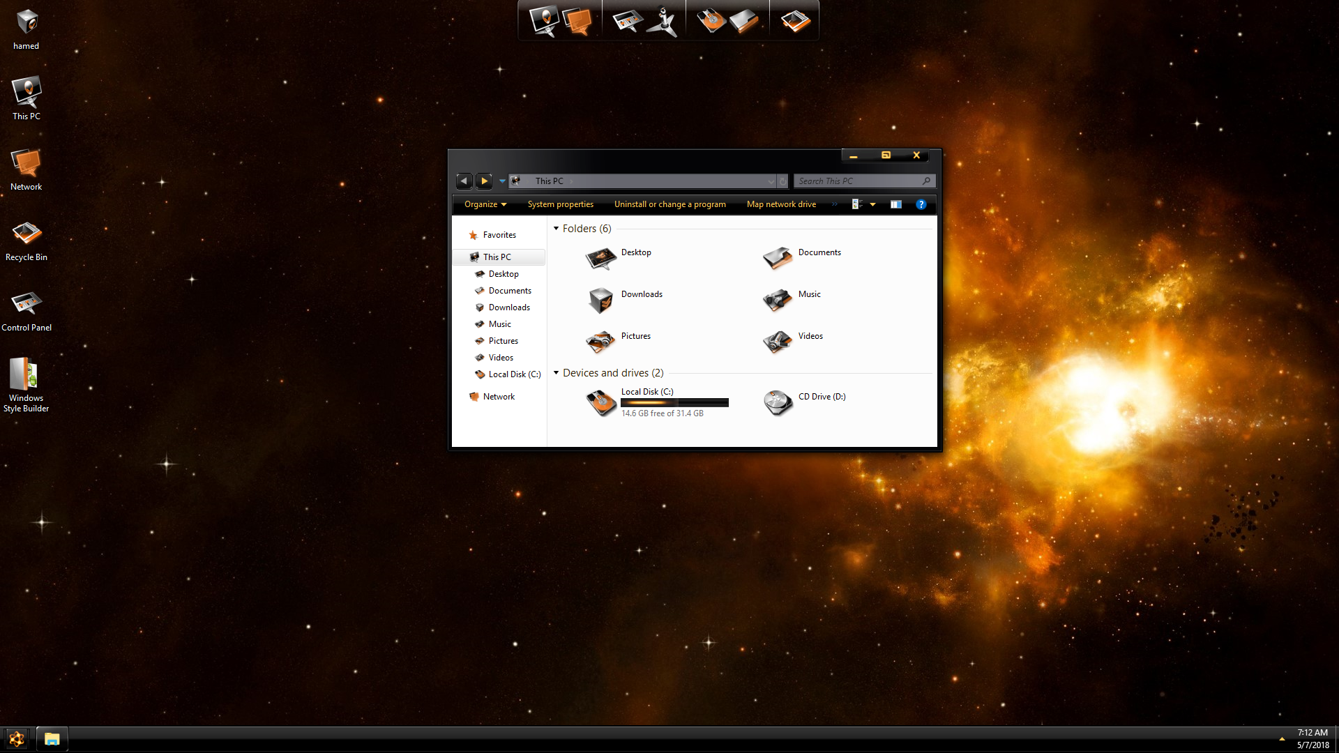 DarkMatter Gold SkinPack for Windows 7\10
