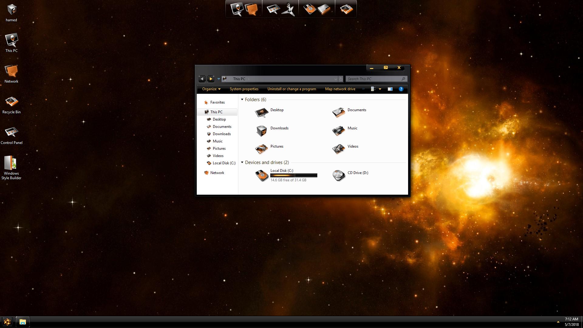 DarkMatter Gold SkinPack for Windows 7\10