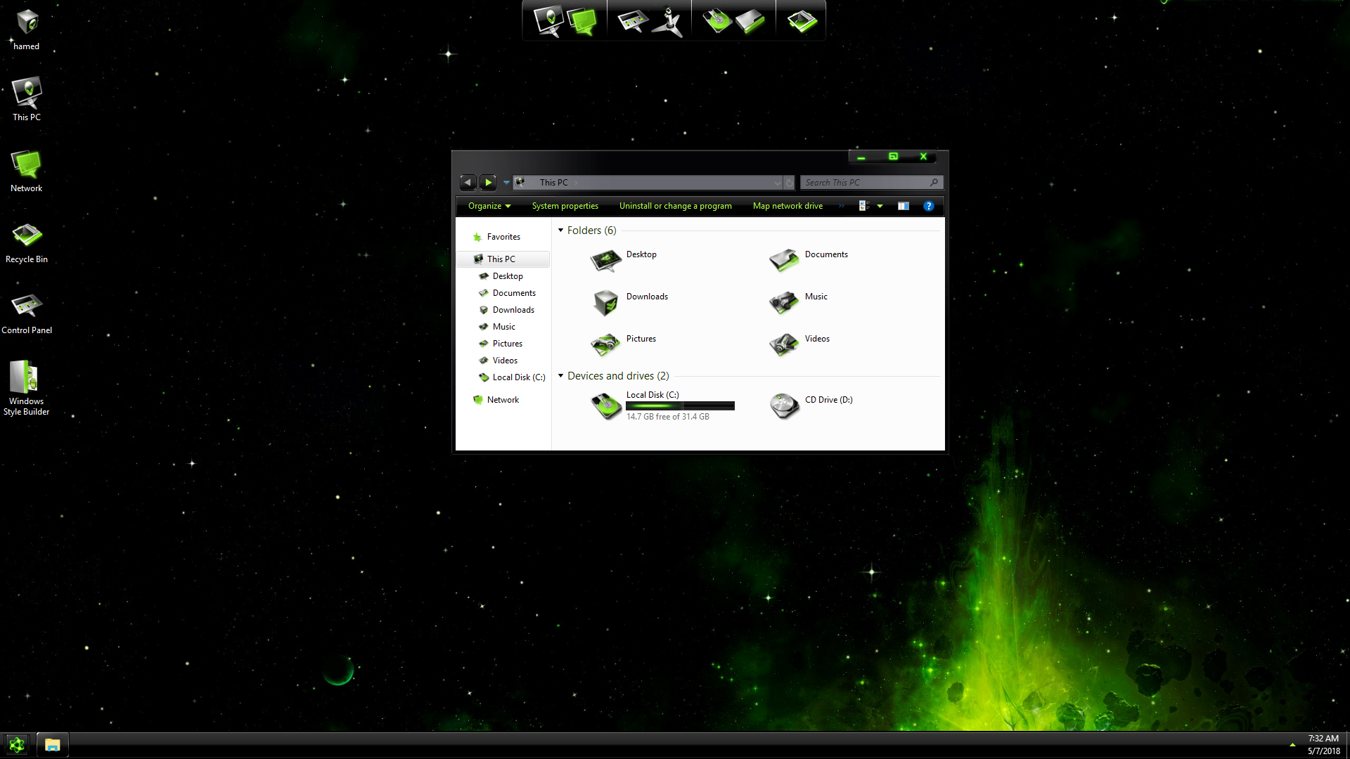 DarkMatter Green SkinPack for Windows 7\10