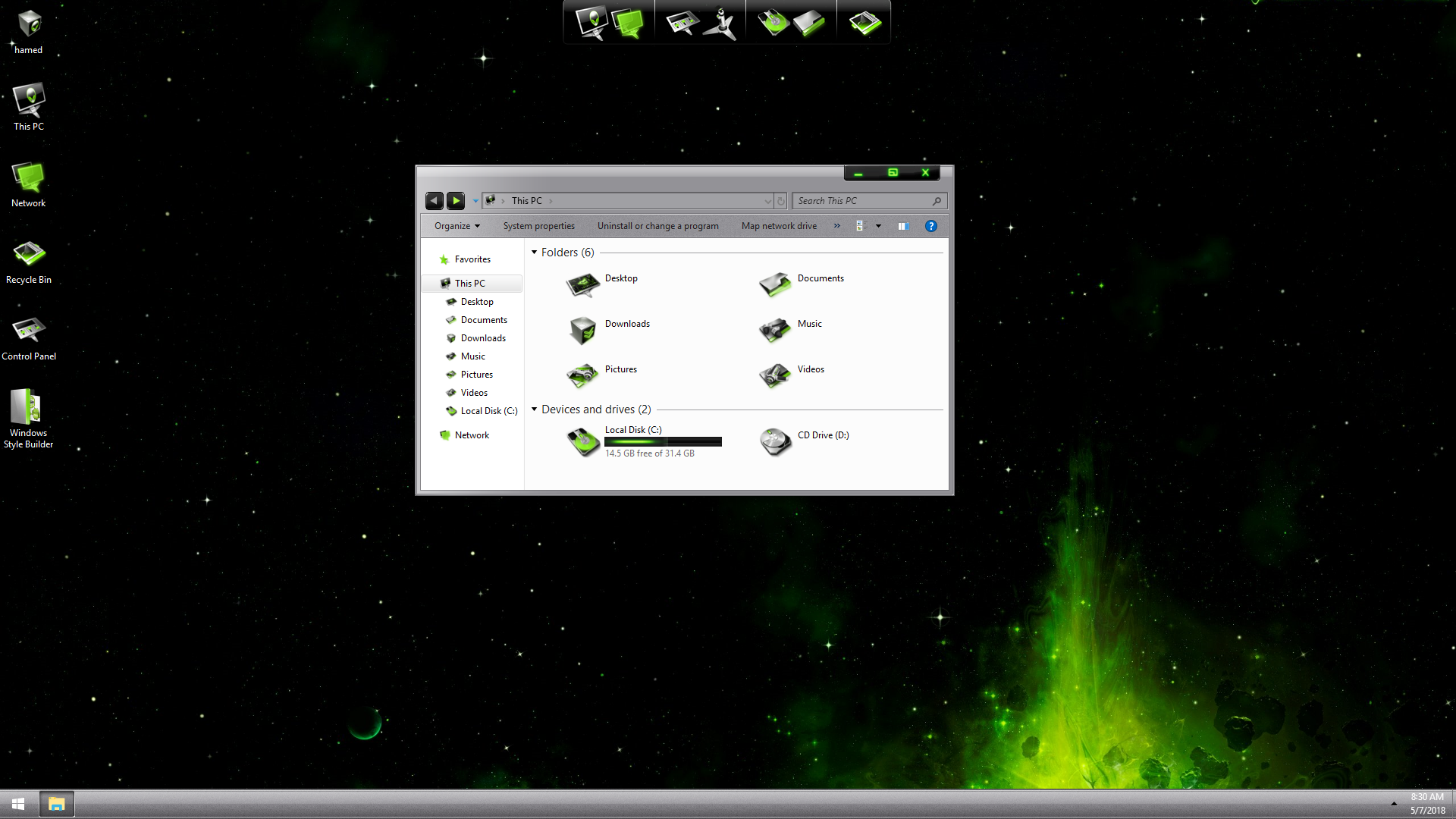 LightMatter Green SkinPack for Windows 7\10
