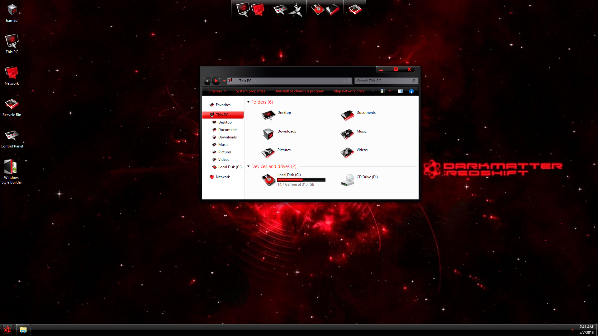 DarkMatter Red SkinPack for Windows 7\10