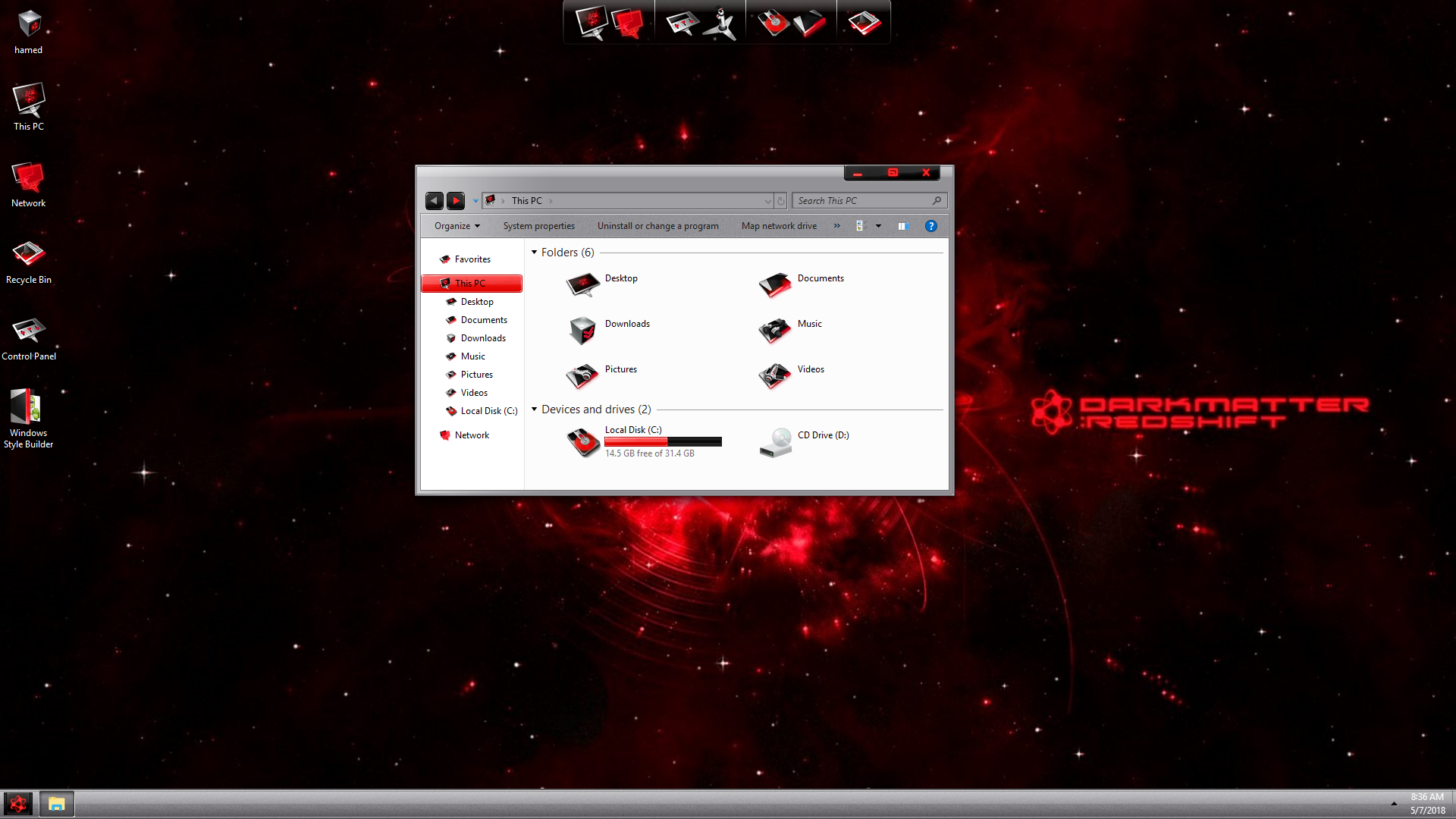 LightMatter Red SkinPack for Windows 7\10