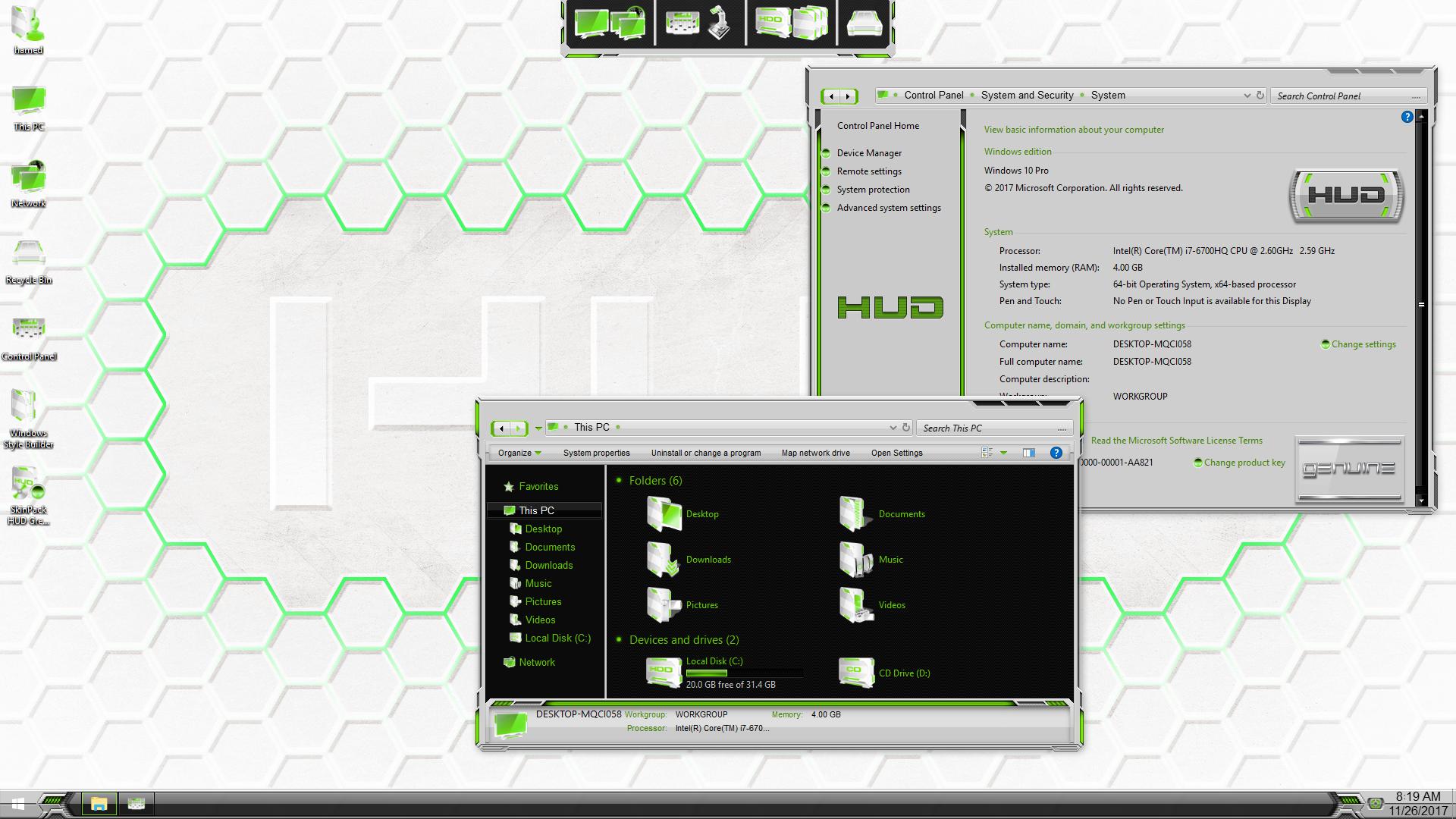 HUD Green Light SkinPack for Windows 7\10