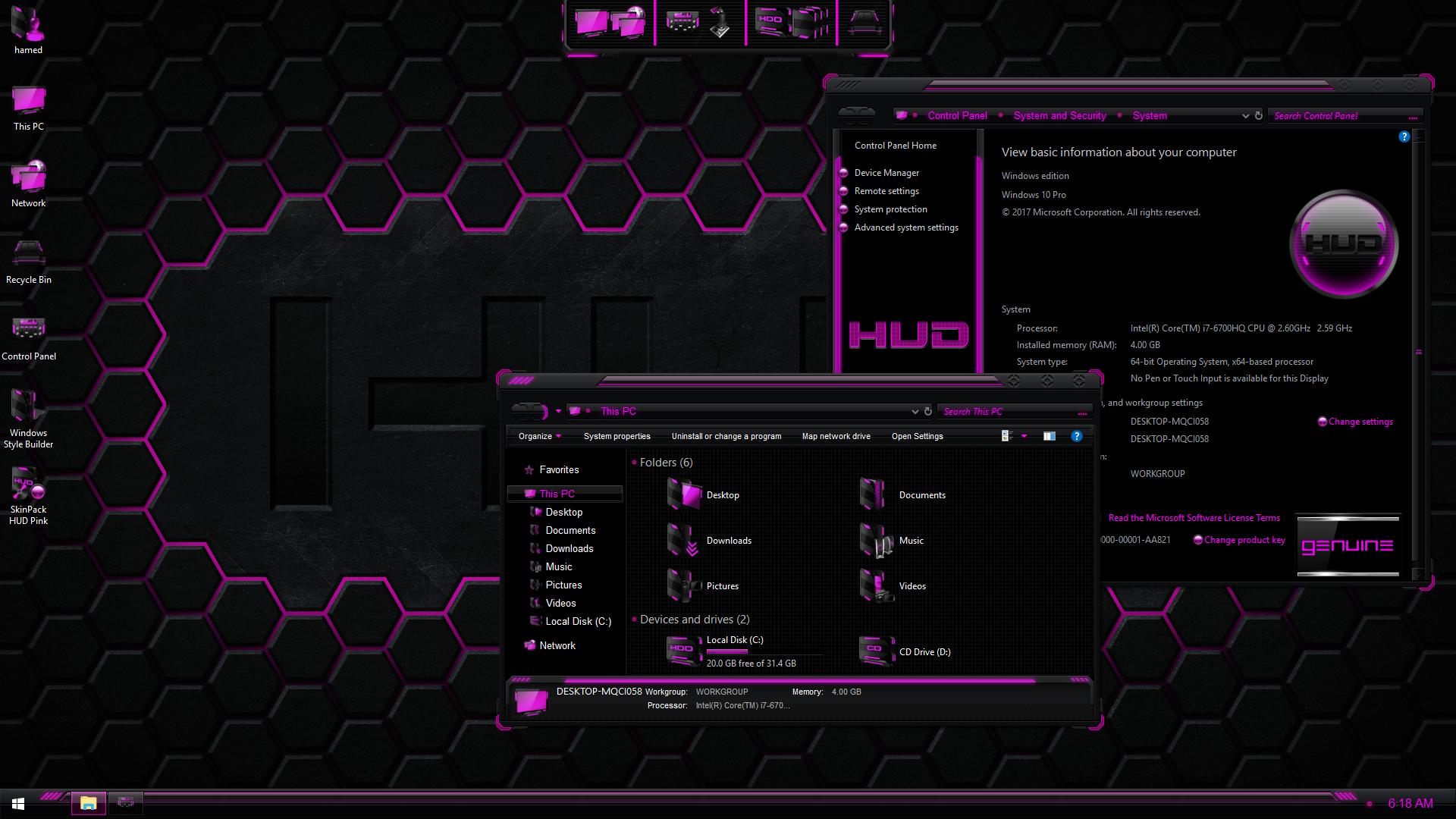 HUD Pink SkinPack for Windows 7\10