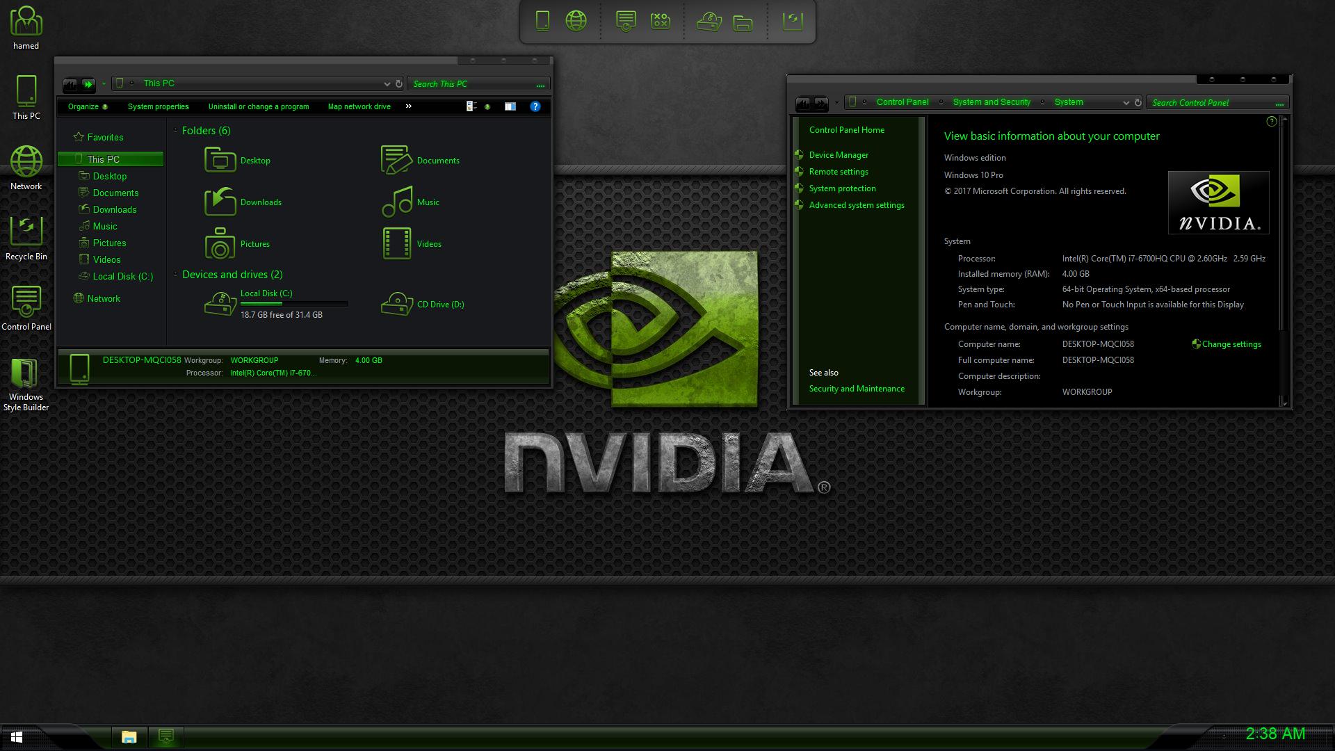 nVidia Dark SkinPack for Windows 7\10