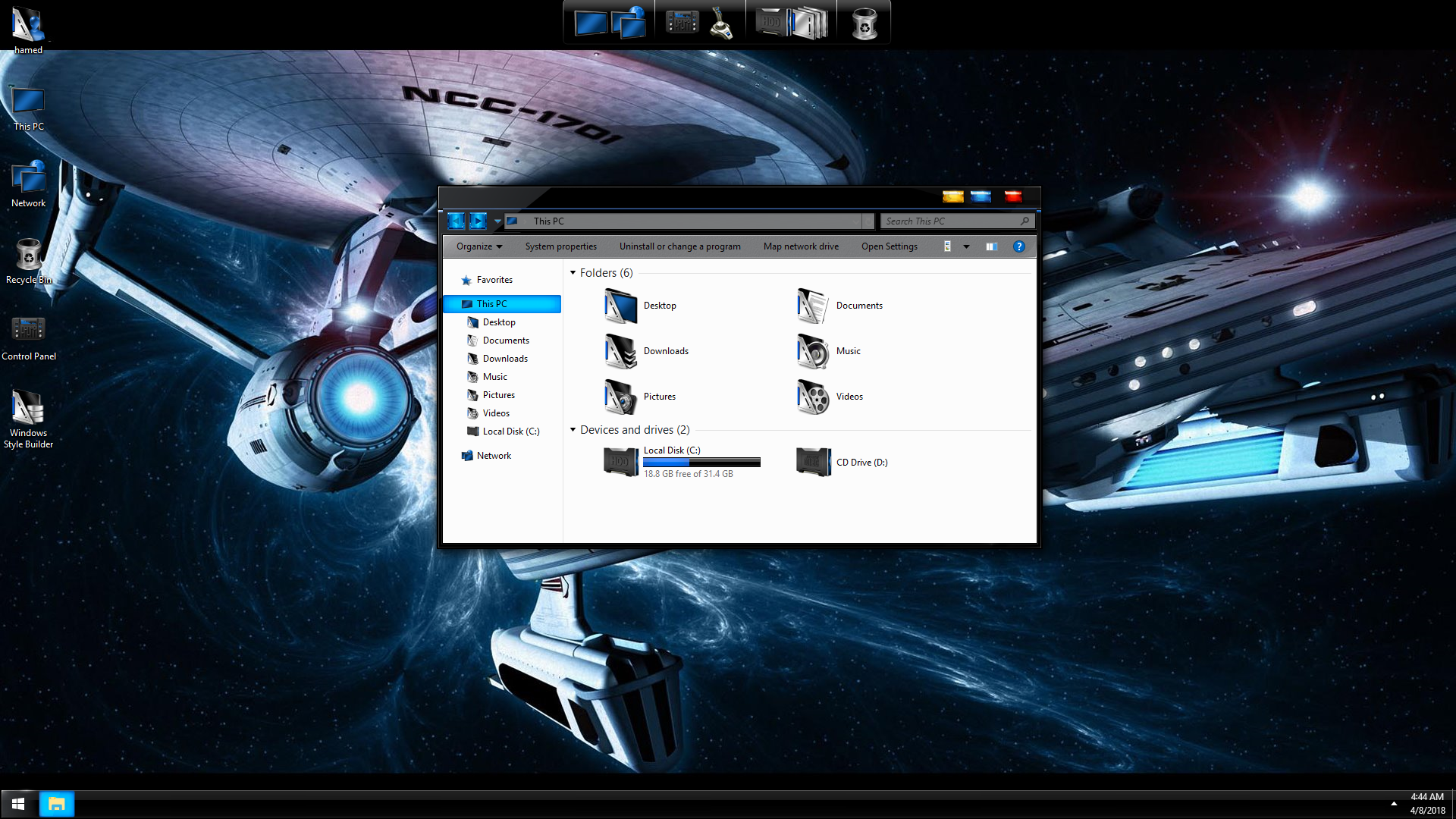 StarTrek Blue SkinPack for Windows 7\10