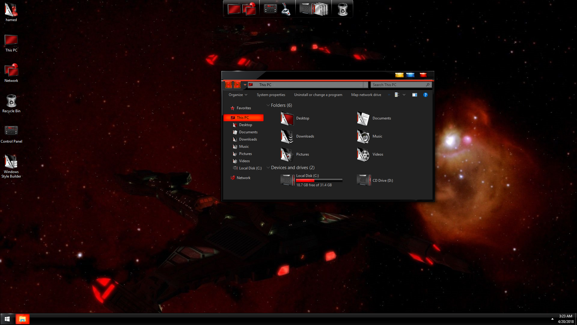 StarTrek Black Red SkinPack for Windows 7\10