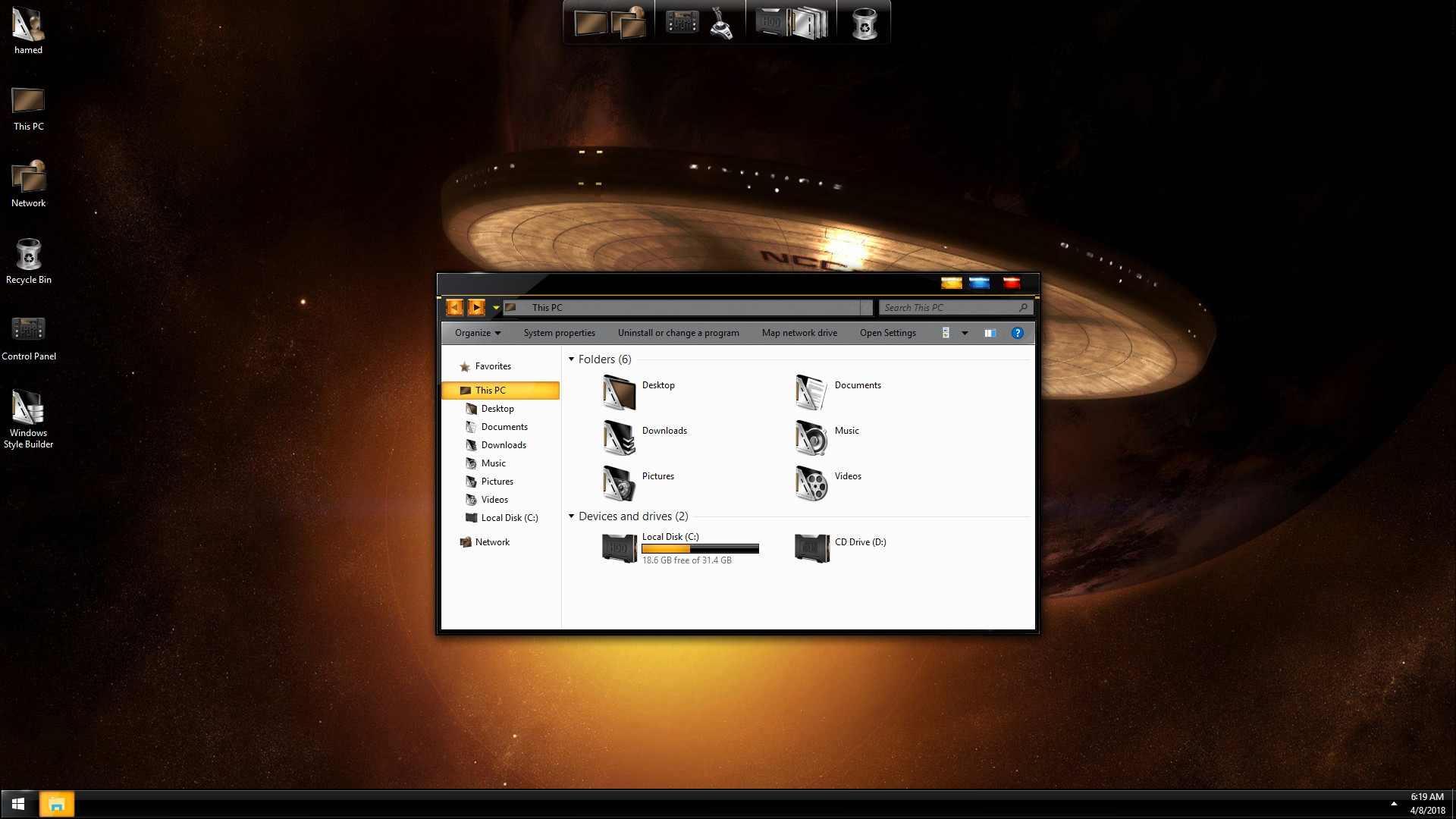 StarTrek Gold SkinPack for Windows 7\10