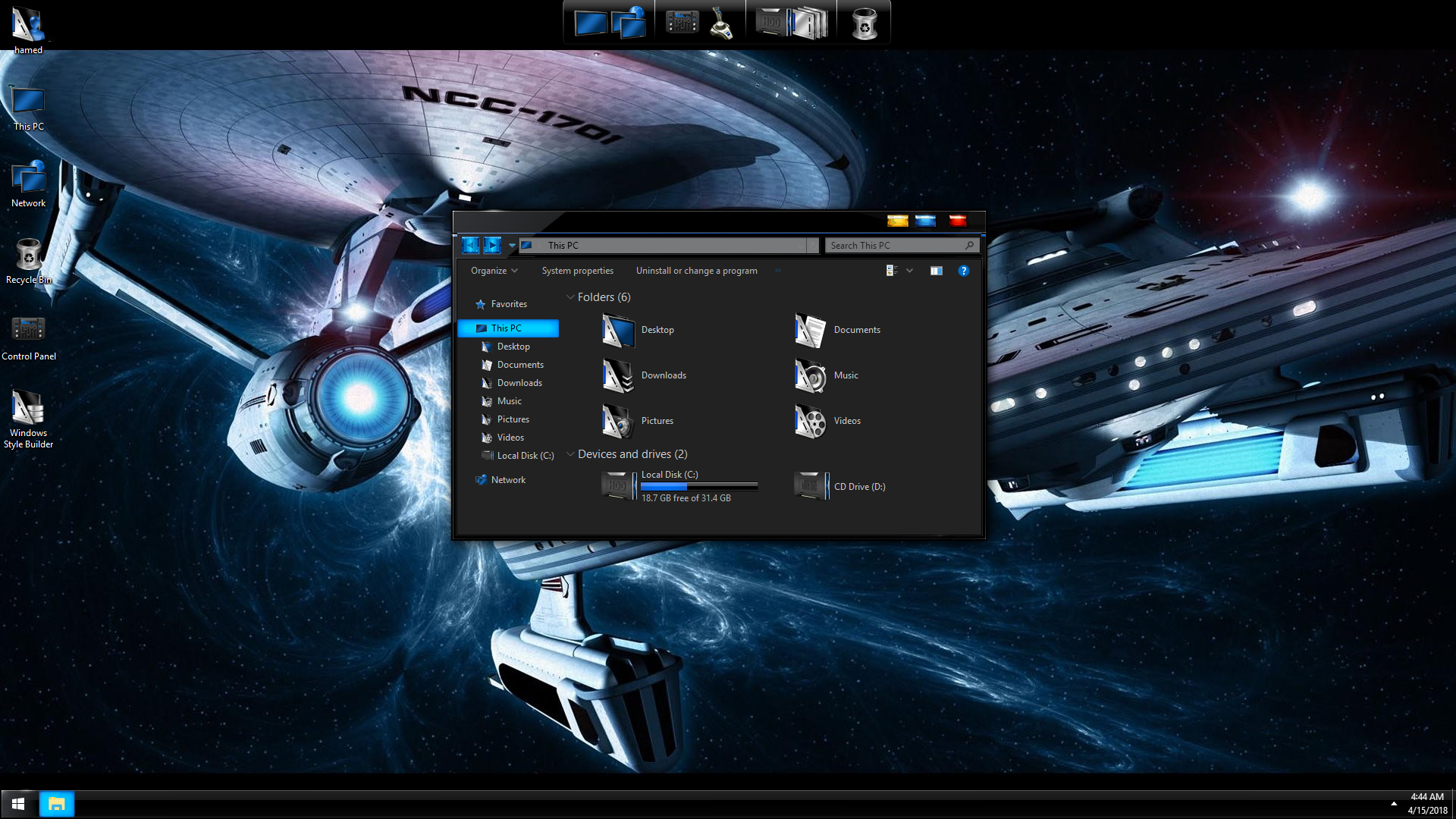 StarTrek Black Blue SkinPack for Windows 7\10