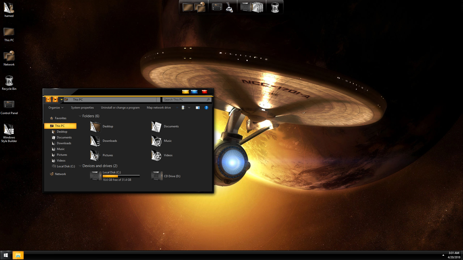StarTrek Black Gold SkinPack for Windows 7\10