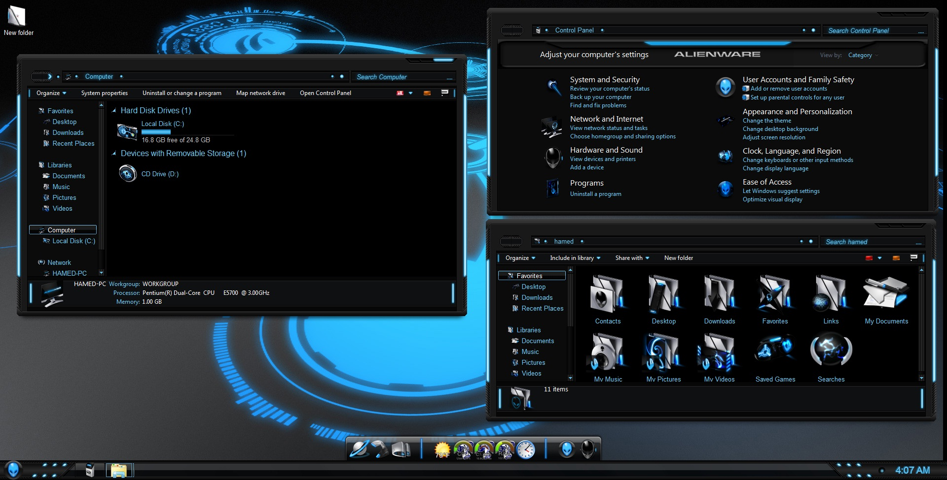 Download 5 alienware windows 7 themes and skins.