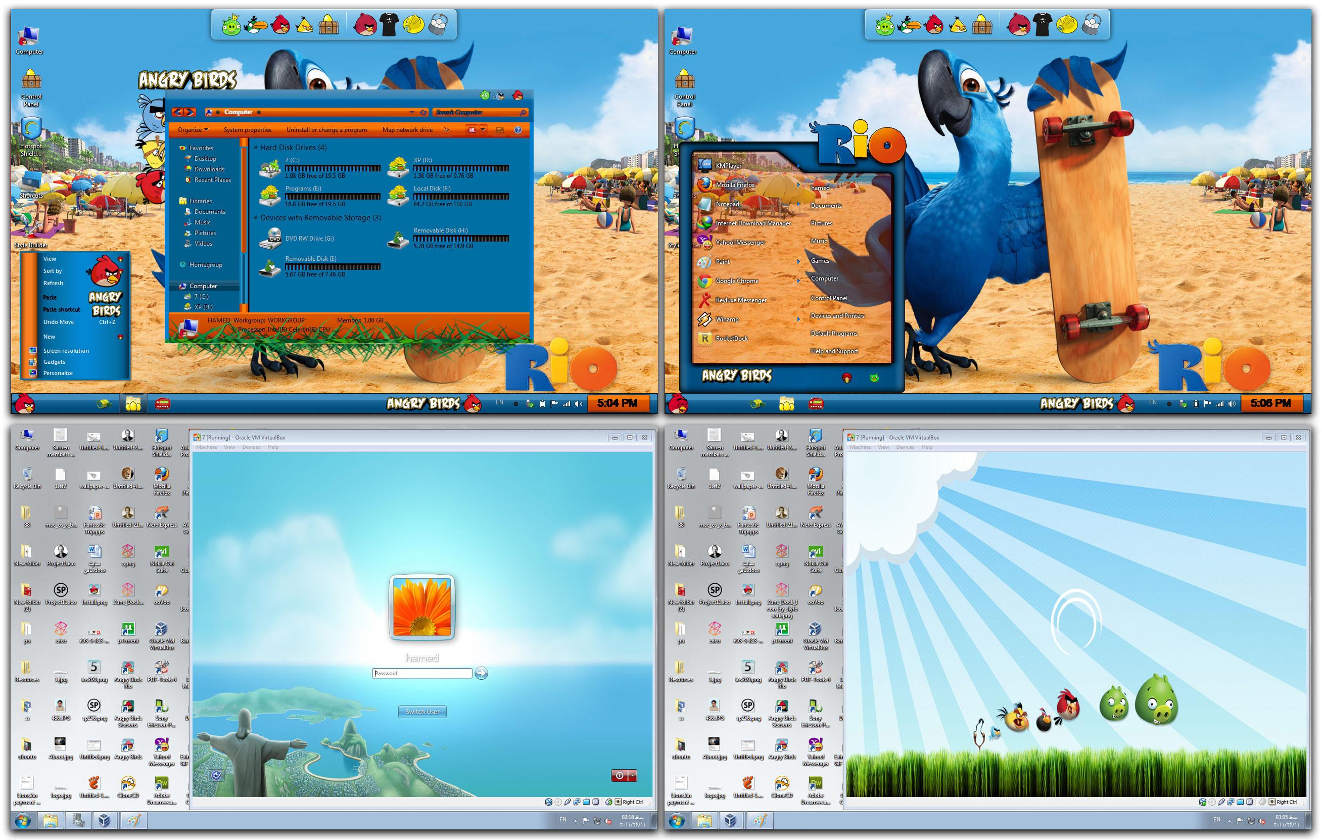 Windows 10 angry birds rio theme skinpack tutorial youtube.