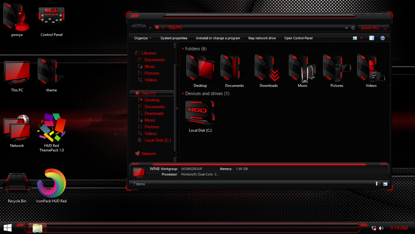 HUD Red IconPack for Win7/8/8 1/10 - SkinPack - Customize Your